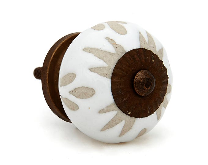 White Etched Ceramic Knob Pull for Dresser, Drawer, Cabinet or Door - i487
