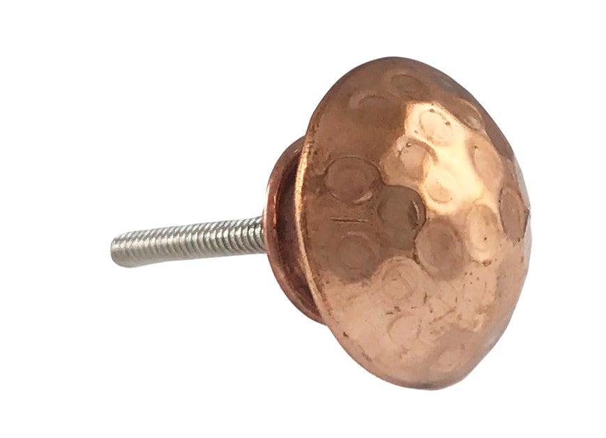 Hammered Copper Round Head Kitchen Drawer Cabinet Pull, Dresser ...
