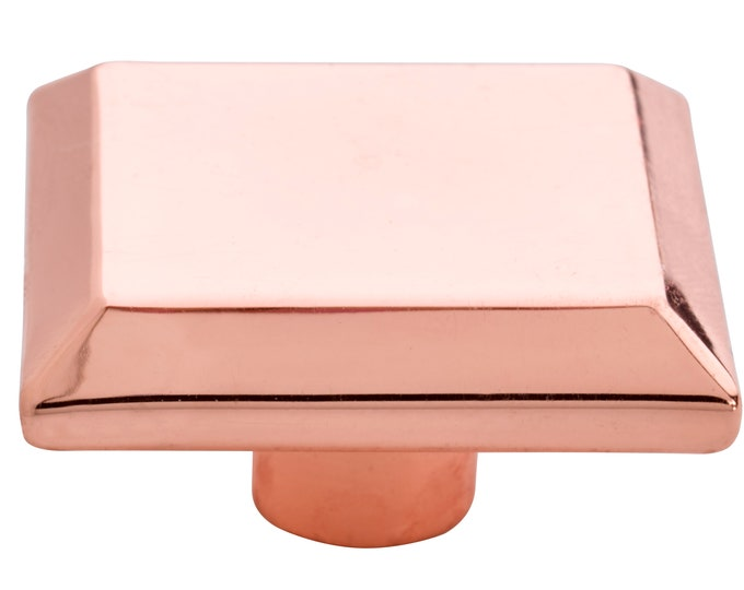 Square Shiny Copper Metal Knobs for Drawers, Cabinets, Furniture