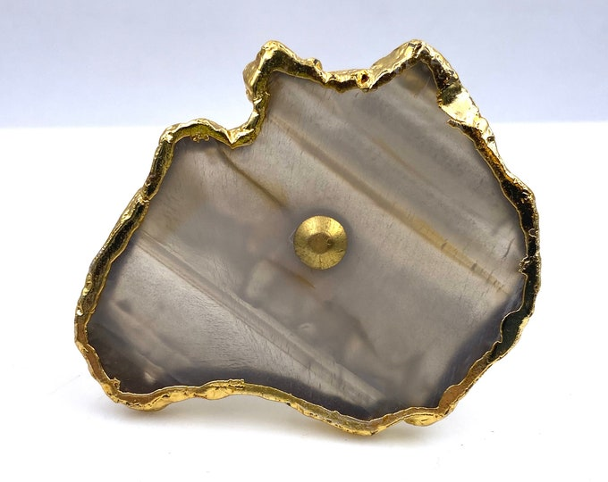 Agate Stone Brown & Clear Drawer Pull, Cabinet Pull, Knob
