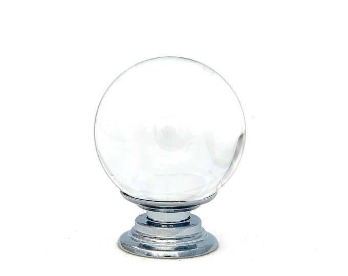 """Clear Crystal Glass 1.5"""", 40mm Round Knob, Drawer Pull, Cabinet Pull, Dresser Drawer Pulls - Pack of 10"""