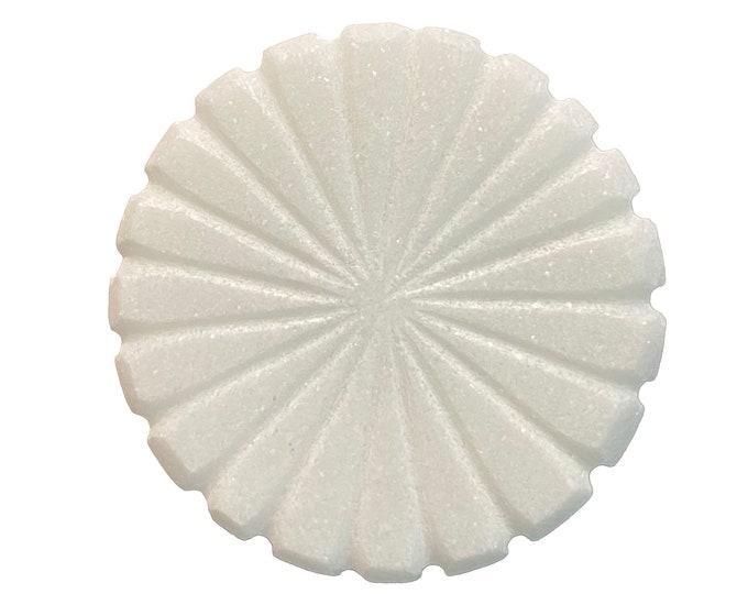 White Ceramic Round Stone Cabinet Knob, Drawer Pull, Dresser Knob