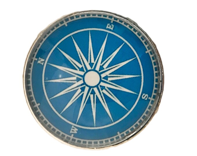 Nautical Boat Compass Glass Knob for Dresser Drawers, Cabinet Drawers, Kitchen Cabinets - W37