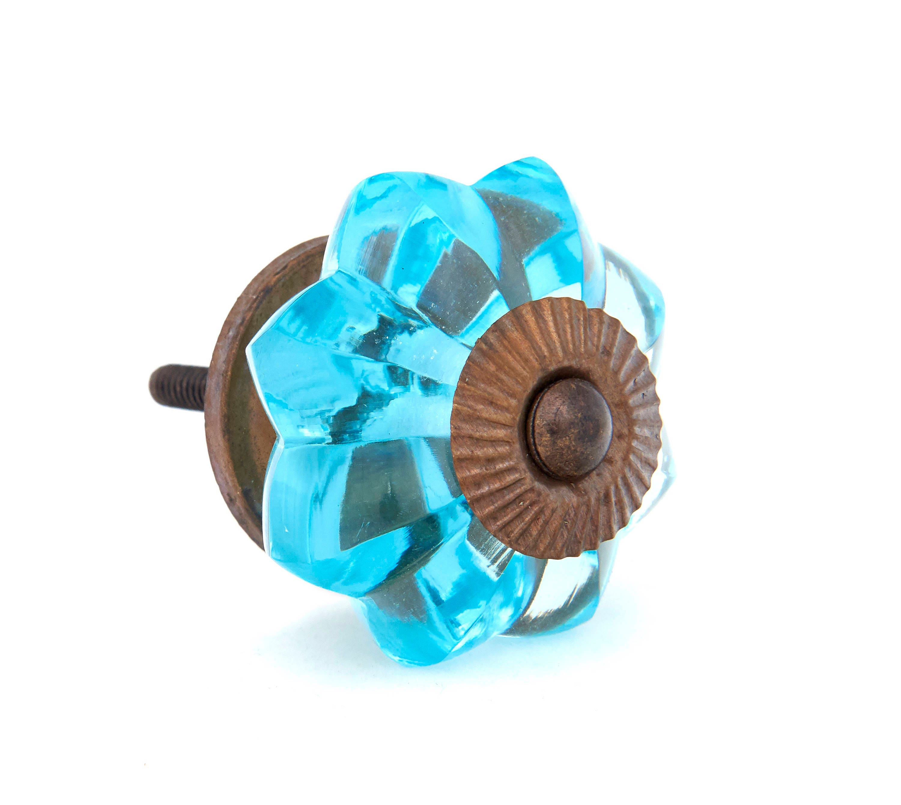 Turquoise Glass Kitchen Cabinet Pulls, Dresser Knobs with Antique ...