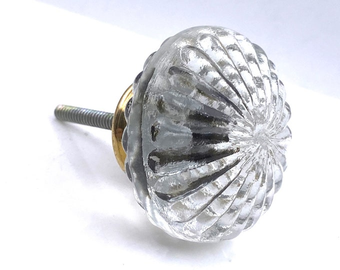 Round Decorative Faceted Glass Knob with Gold Hardware