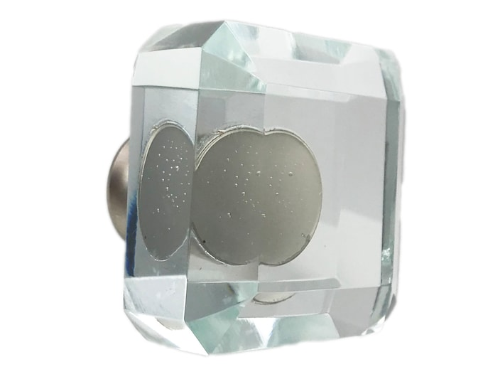 Square Clear Glass Kitchen Cabinet Pulls, Dresser Knobs with Brushed Nickel Hardware