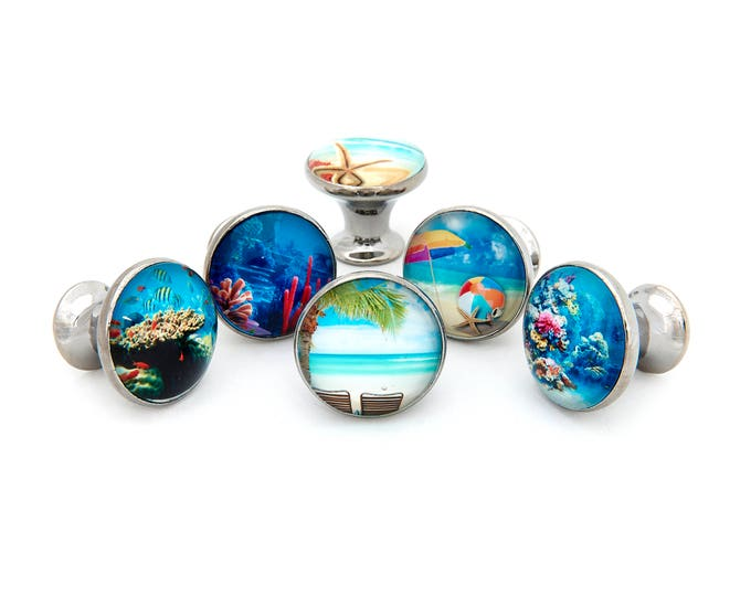 Tropical Ocean Beach Theme #1 Drawer Pulls, Cabinet Pulls, Dresser Knobs - Set of 6 Knobs