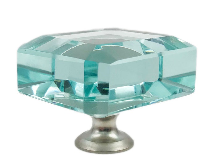 Square Turquoise Tinted Glass Kitchen Cabinet Pulls, Dresser Knobs with Brushed Nickel Hardware