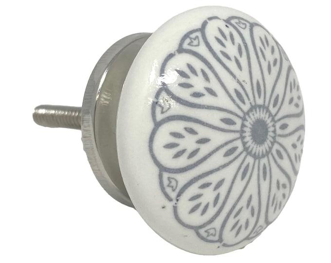 Vintage Round Flat Gray Floral Design for Dresser Knob, Cabinet Pull