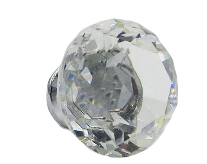 """Crystal Glass Diamond Shape 1"""", 30mm (small one) Drawer, Door, Cabinet or Dresser Knob Pulls - Pack of 10"""