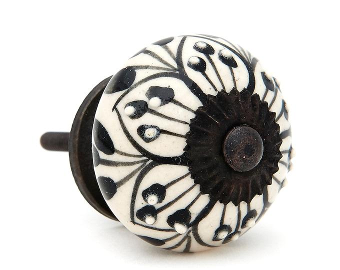 Black Pattern Design Decorative Ceramic Dresser Drawer Pull Knob, Cabinet Pull - Pack of 12