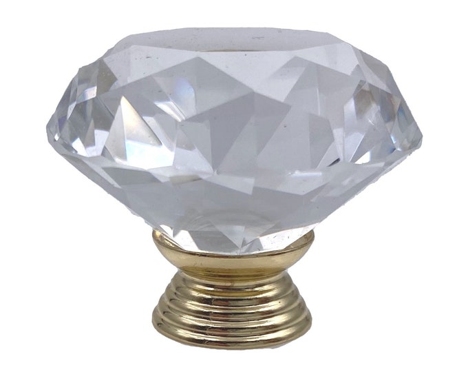 """Clear Faceted Crystal Glass Diamond Cut 1.5"""", BRASS BASE Drawer, Door, Cabinet or Dresser Knob Pull"""