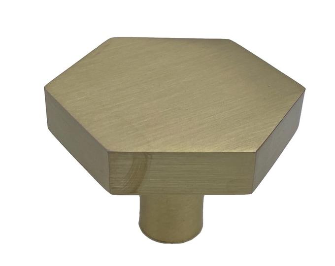 Hexagon Brused Gold Drawer Knob, Cabinet Pull, Kitchen Drawer Pull
