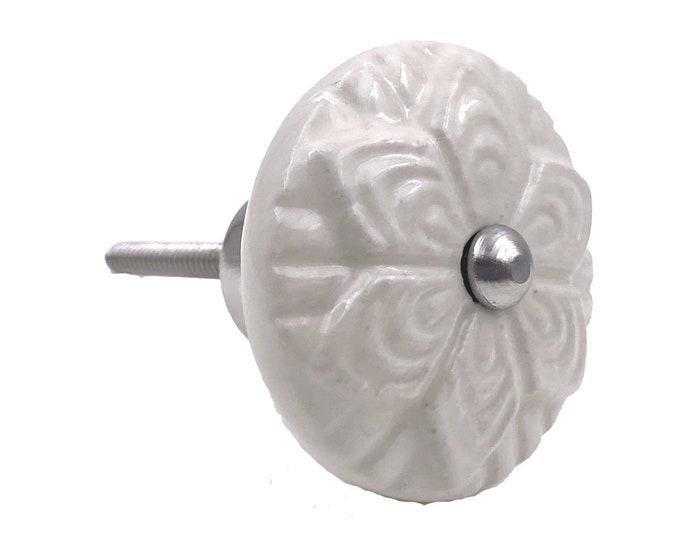 Cream Ceramic Round Decorative Drawer Pull, Dresser Knob, Kitchen Knob