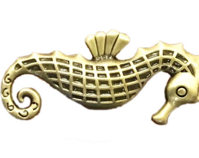 Seahorse Metal Knob, Cabinet Pull, Dresser Knob, Drawer Pull Knob - Pack of 12 Knobs
