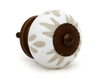 White Etched Ceramic Knob Pull for Dresser, Drawer, Cabinet or Doors - Pack of 12