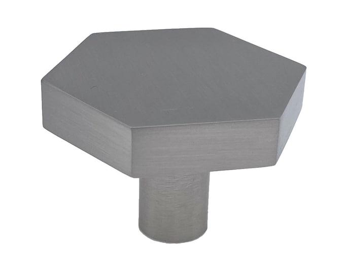 Hexagon Brused Nickel Drawer Knob, Cabinet Pull, Kitchen Drawer Pull