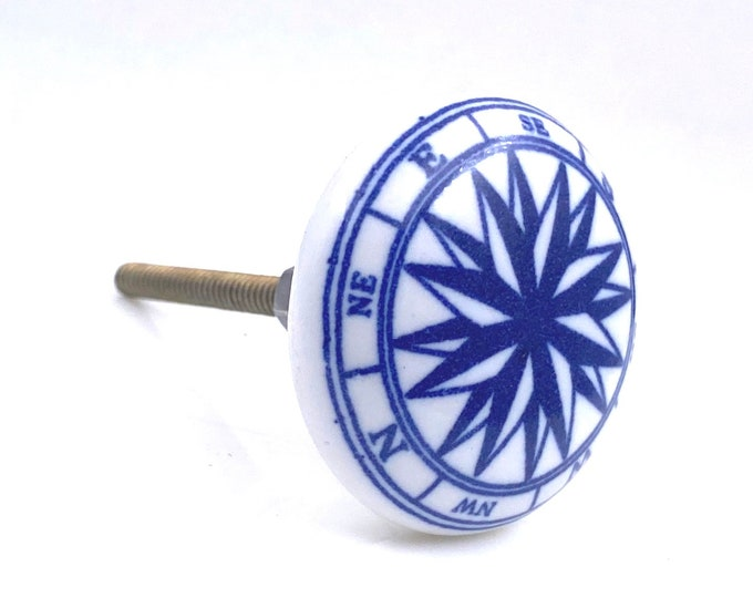 Ocean Nautical Compass, Navy Blue Ceramic Knob Pull for Cabinets, Drawers or Doors