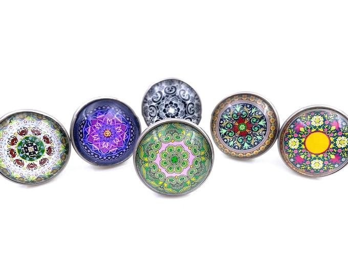 Mandala Set of 6 Glass Knobs on Brushed Nickel Metal Bases, Dresser Knobs, Drawer Pulls