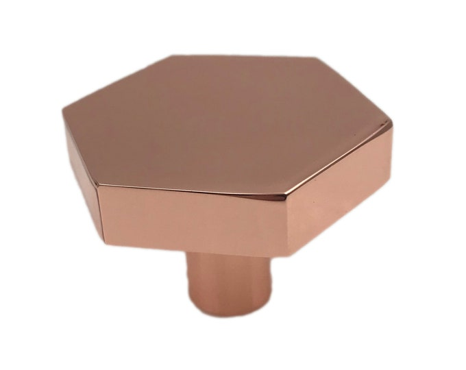 Hexagon Brushed Copper Drawer Knob, Cabinet Pull, Kitchen Drawer Pull