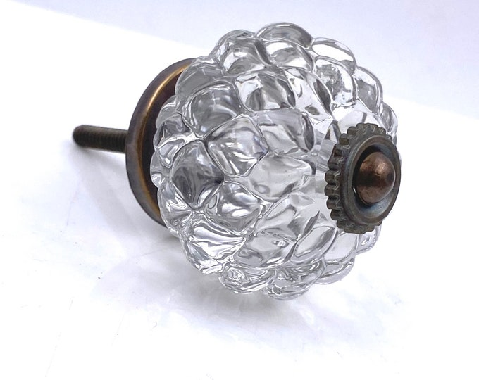 Faceted Round Decorative Glass Knob with Bronze Hardware
