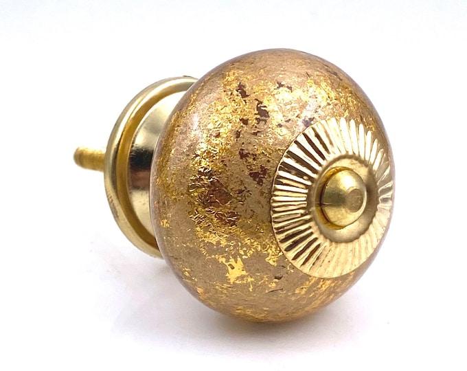 Gold Round Ceramic Knob with Gold Hardware, Kitchen Pulls, Drawer Knobs