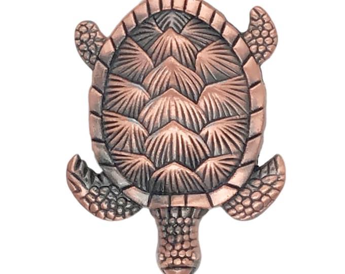 Turtle Copper Metal Dresser Drawer, Cabinet Drawer or Door Knob Pull