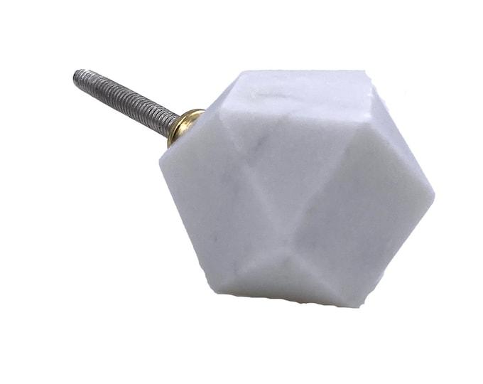 White Stone Drawer Knob, Dresser Knob, Cabinet Pull