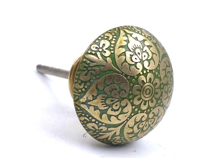 Brass Heart Knob with Green Tones, Lightweight, Kitchen Drawer Cabinet Pull, Dresser Pull, Dresser Knob