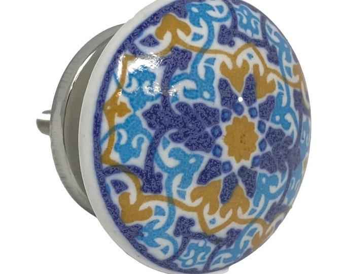Vintage Round Flat Blue Floral Design for Dresser Knob, Cabinet Pull