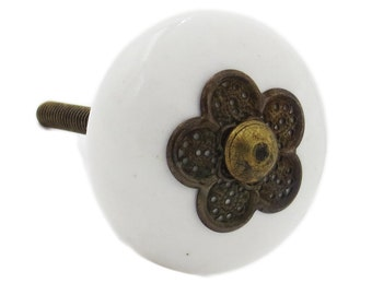 Myosotis White Ceramic Knob with Metal Flower on front, Dresser, Drawer, Cabinet, Door