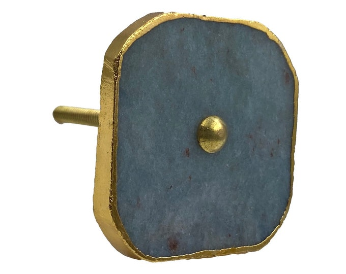 Square Gray Stone Knobs with Gold Trim for Furniture, Drawers, Doors, Cabinets
