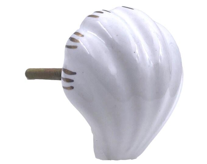 White Ceramic Sea Shell, Drawer Pull, Cabinet Pull, Dresser Knob