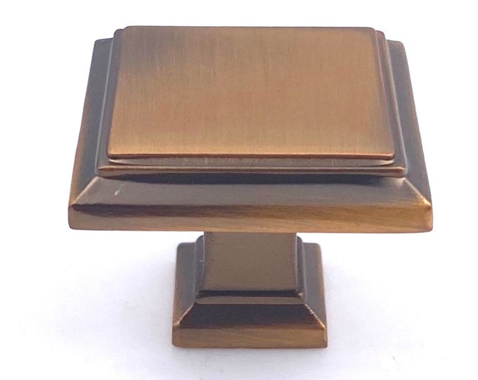 Square Brushed Copper (Coffee Yellow) Knob for Drawers, Cabinets, Furniture