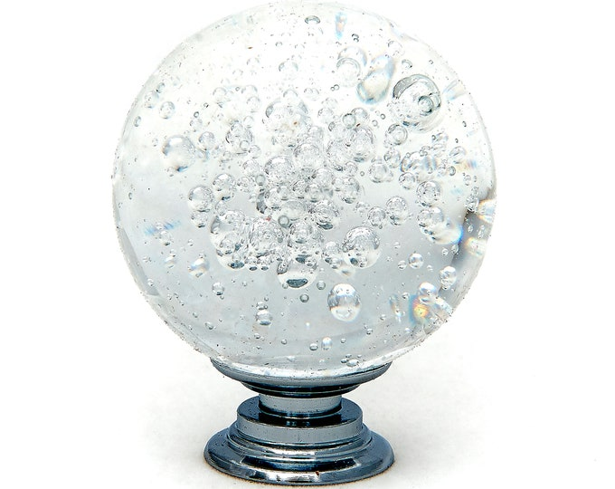 """Clear Bubble Crystal Glass 1.5"""", 40mm Round Knob, Drawer Pull, Cabinet Pull, Dresser Drawer Pulls - Pack of 10"""