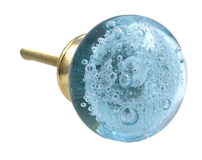 Aqua Blue Bubbles Glass, Gold metal Base, Decorative Dresser Drawer, Cabinet or Door Knob Pull