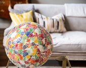 Vintage Stained Colourful Glass Calypso Globe Lamp for Floor or Table Unique Eco-Chic Lighting
