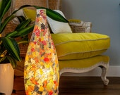 Vintage Pitkin Shape Colourful Stained Glass Lamp Calypso Unique Eco-Chic Lighting