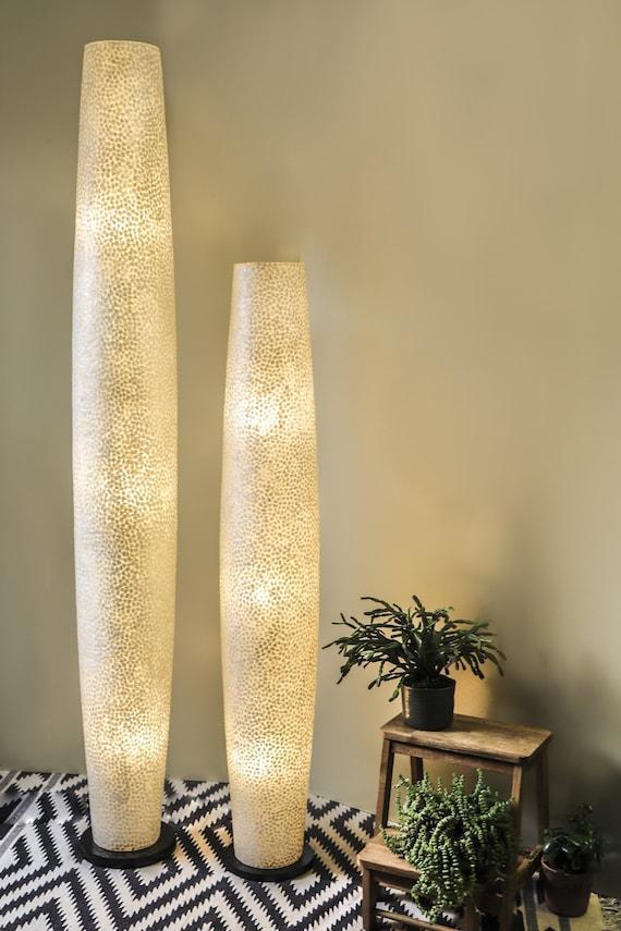 White Mother Of Pearl Floor Lamp Elara Unique Unusual Etsy