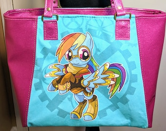 Steampunk Rainbow Dash Pinkie Pie My Little Pony Everyday Tote Large Purse Unique Gift for Her