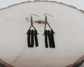 Black Painted Twig Earrings