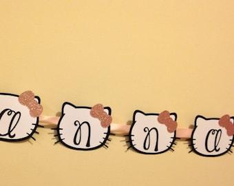 Hello Kitty Banner, Name Banner, Birthday Banner, Baby Shower Banner