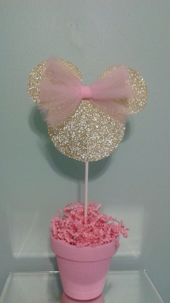 Minnie Mouse Centerpiece Pink And Gold Minnie Mouse Gold Etsy