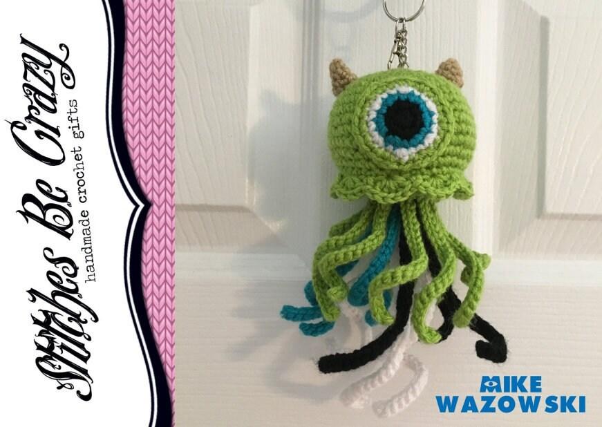 Kawaii Jellyfish Mike Wazowski Monsters Inc Crochet Keychain Etsy