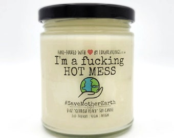 Hot Mess Earth, Climate Change Soy Candle: Available in 4,9,or16 Oz Glass Jars * Global Warming, Christmas Gift for Environmentalist