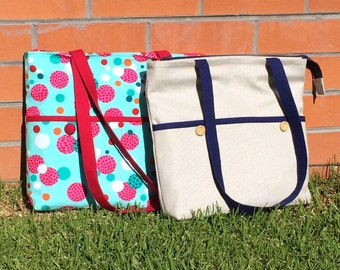 Tote Bag with Zipper, PDF Sewing Pattern