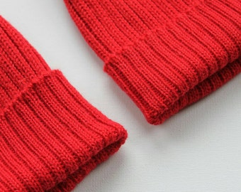 096bda539b2 Red matching parent   child set of 2 beanie hats. 100% Alpaca - Handcrafted  in Scotland. Knitted watch caps. Team Zissou fisherman s beanies