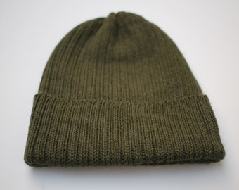 cc3dd379109 Forest Green Beanie for Adults. 100% Alpaca - Handcrafted in Scotland.  Knitted unisex watch cap  fisherman s beanie.