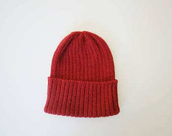 a464377f609 Tomato Red Fisherman s Beanie Hat for Adults. 100% Alpaca - Handcrafted in  Scotland. Knitted unisex 2 x 2 watch cap  fisherman s beanie.