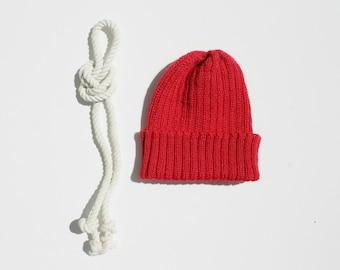 Red Zissou Style Beanie Hat for Babies & Children. 100% Alpaca. Handcrafted in Scotland. Knitted children's watch cap/ fisherman's beanie.